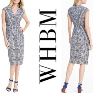 WHBM Cap Sleeve Printed Knit Sheath Dress, Sz. 12